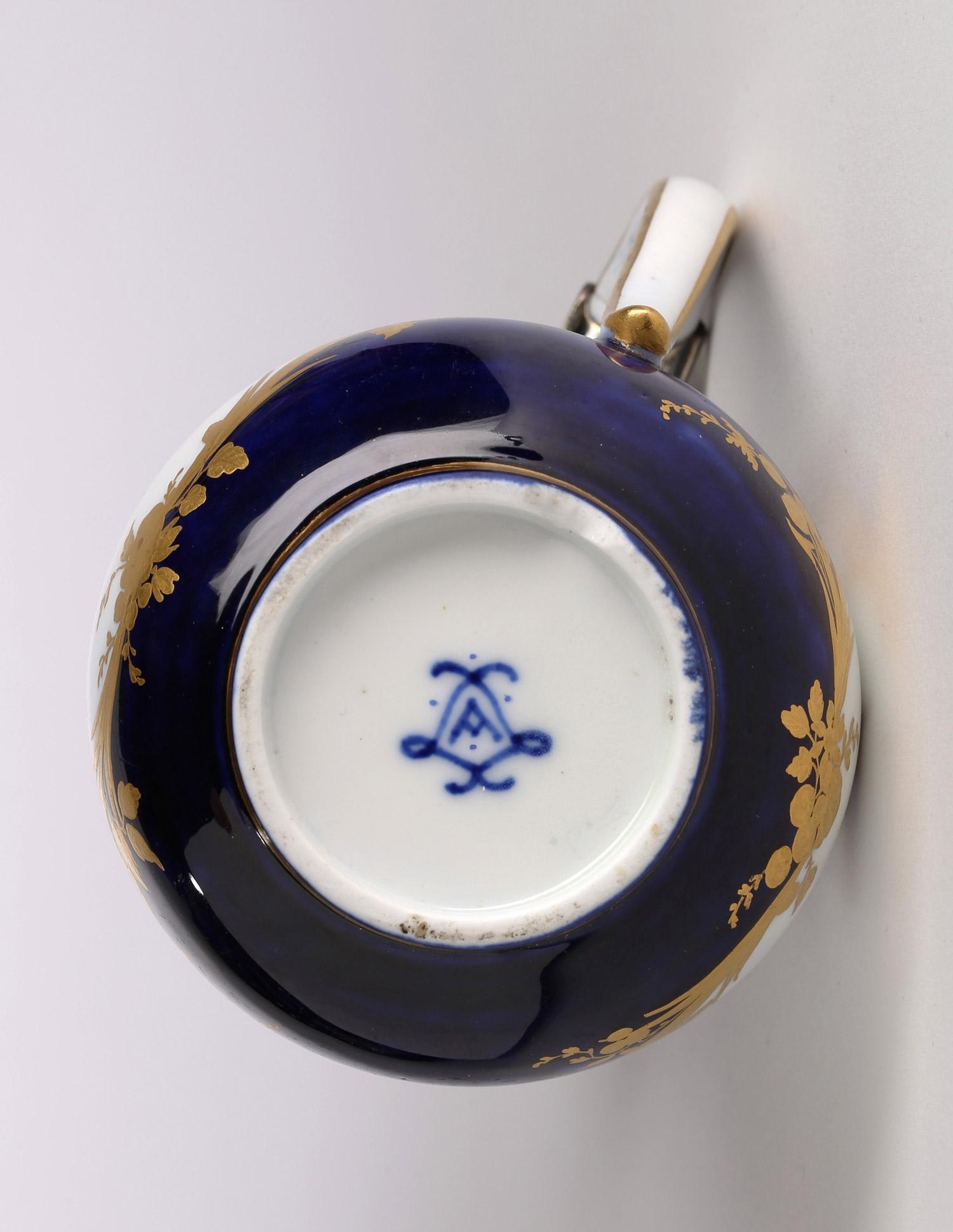 Detail, ewer and cover, pot à l'eau tourney, second size, bleu lapis ground, 1754, silver-gilt mounts. (Private Collection)