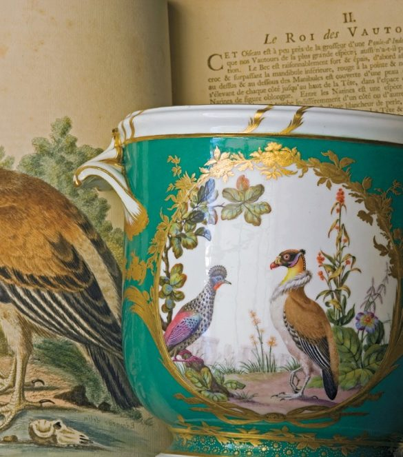 Vulture (Great Bustard) with a view of Stonehenge on a seau à demi–bouteille (small wine bottle cooler), from a table service, Sèvres, 1765. Goodwood, West Sussex.