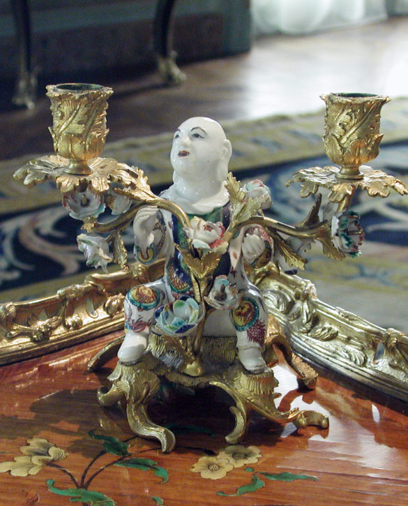 Figure of a magot, mounted in ormolu (gilt bronze) as a candelabra, Villeroy, c.1748. (The Metropolitan Museum of Art, Gift of Mr & Mrs Charles Wrightsman, 1976, Inv. no. 1976.155.27)