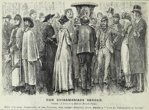 Our Chinamaniacs Abroad, before a 'Vase en porcelaine de Sèvres', 1877 © Punch.
