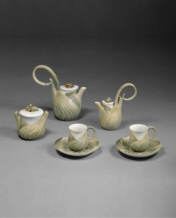 Coffee service designed by Léon Kann, Sèvres, 1900-04. (Metropolitan Museum of Art, Gift of Diane R. Wolf, 1988, Inv. no. 1988.287.1a, b)