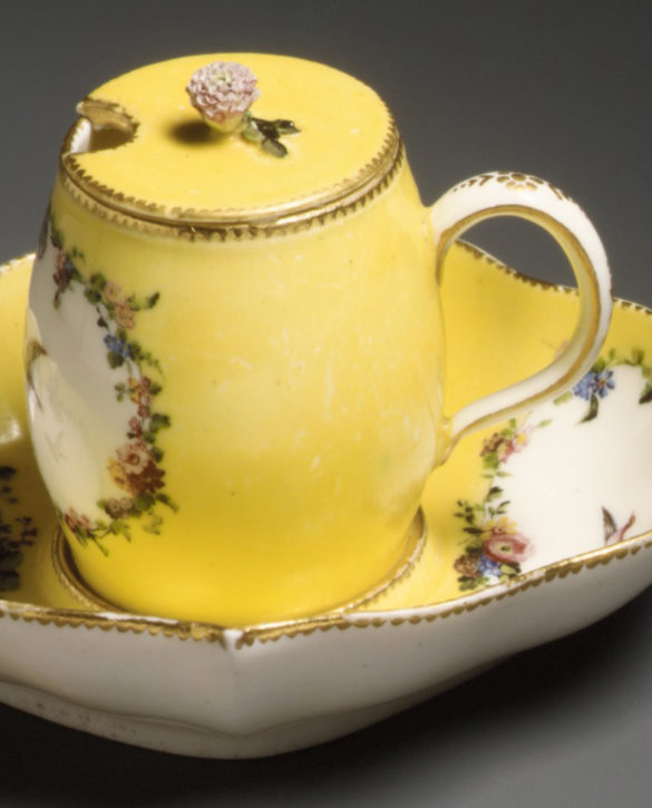 Vincennes mustard pot and stand (moutardier ordinaire), 1753. (Metropolitan Museum of Art, Gift of R. Thornton Wilson, in memory of Florence Ellsworth Wilson, 1954, Inv. no. 54.147.25 a,b.26)