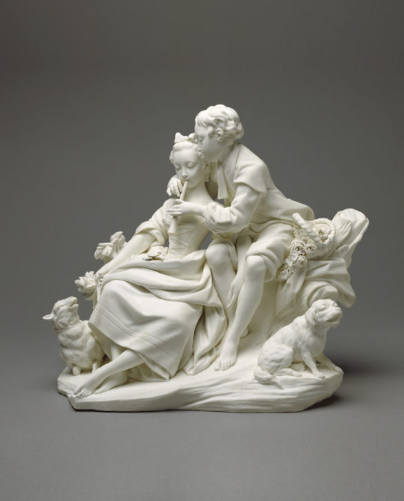 'Les Flûteurs', soft-paste biscuit porcelain, Sèvres manufactory, c. 1757- 66. (The J. Paul Getty Museum, Los Angeles, Inv. no. 70.DE.98,1-2)