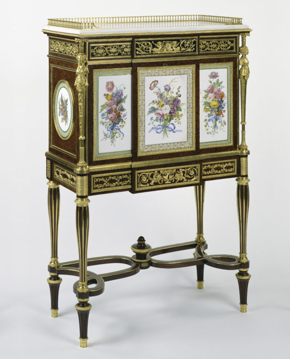 Fall-front secrétaire attributed to Adam Weisweiler, mounted with Sèvres porcelain plaques. (J. Paul Getty Museum, Los Angeles. Gift of J. Paul Getty, Inv. no. 70.DA.83)