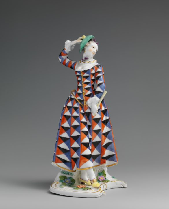 Harlequina by Bustelli from the Commedia dell'Arte, Nymphenburg, c. 1760. (Metropolitan Museum of Art, Gift of R. Thornton Wilson, in memory of Florence Ellsworth Wilson, 1950, Inv. no. 50.211.251)
