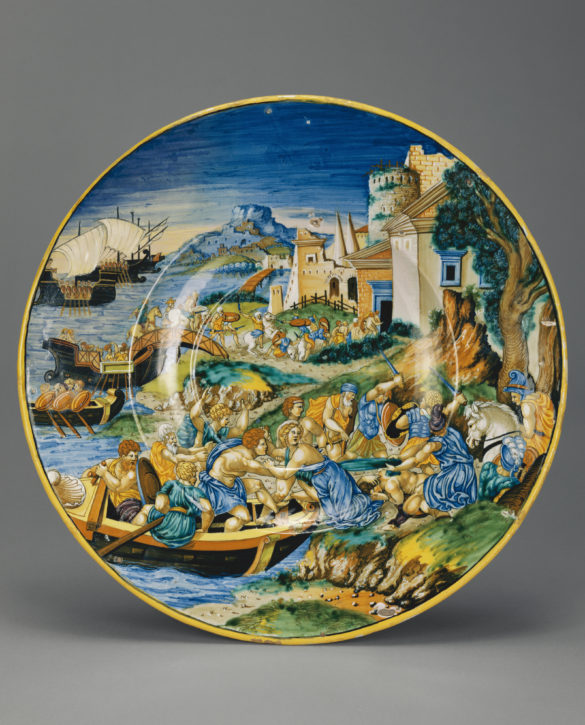 Plate with the Abduction of Helen, painted by Francesco Xanto Avelli (c. 1487–1544), tin-glazed earthenware, Italy, Urbino, 1534. (The J. Paul Getty Museum, Los Angeles, Inv. no. 84.DE.118)