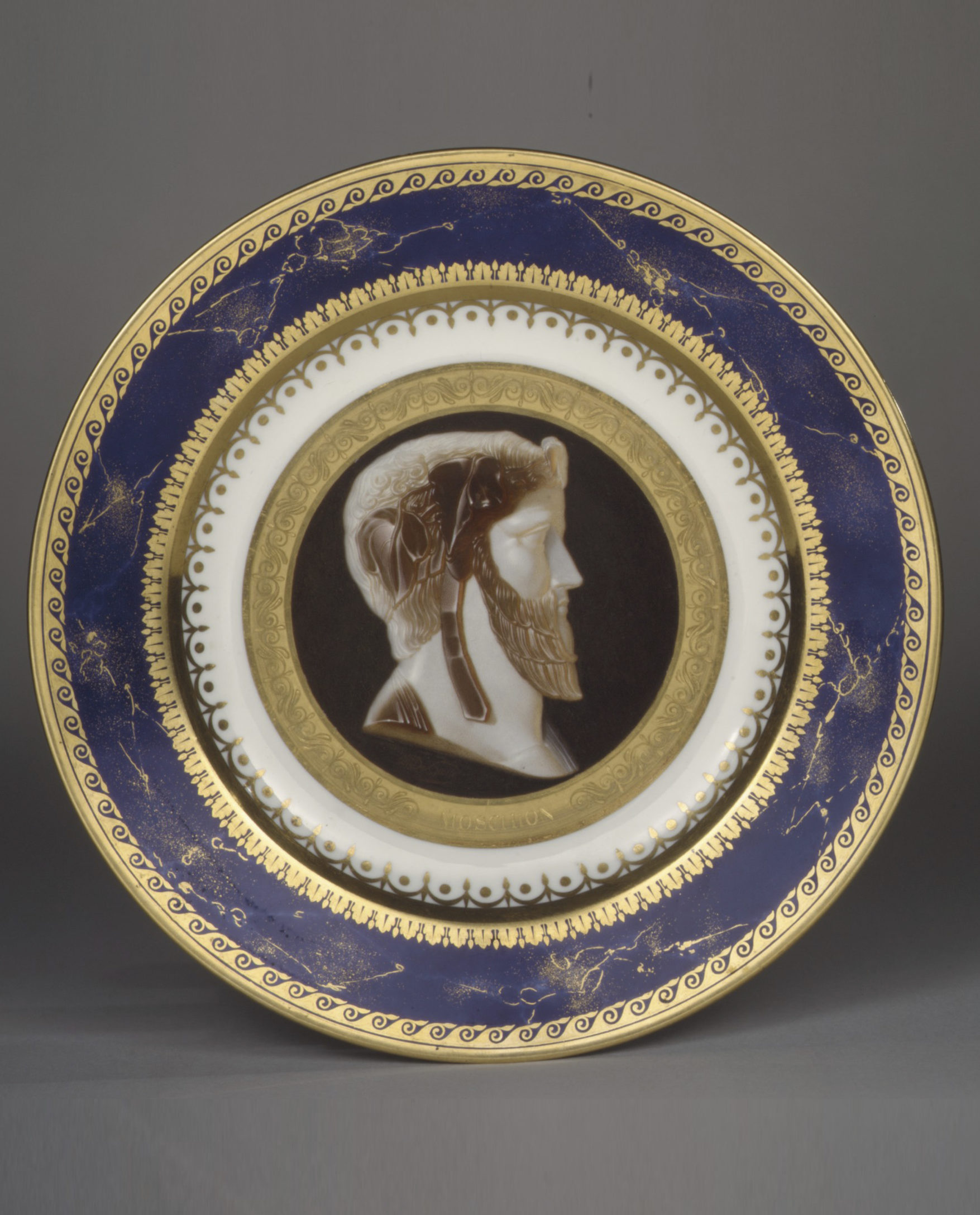 Sèvres plate with imaginary portrait of the tragic poet Moschion, 1811-18. (Metropolitan Museum of Art, The Charles E. Sampson Memorial Fund, 1989, Inv. no. 1989.84)