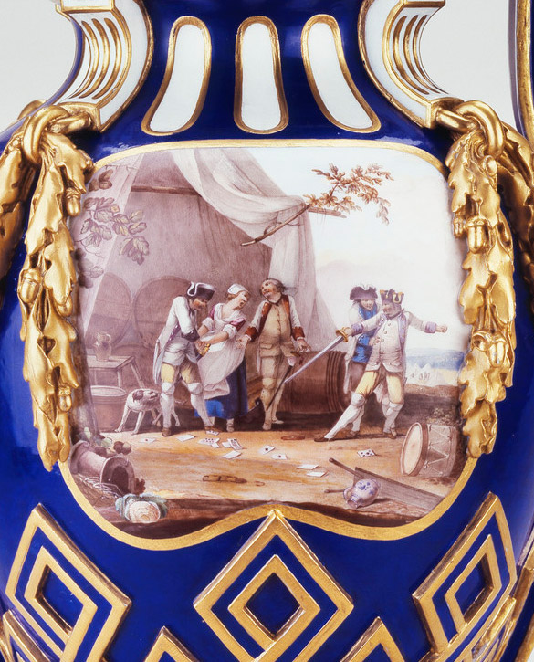 Sèvres porcelain vase 'à bâtons rompus' with encampment scene by Jean-Louis Morin, 1764. (Royal Collection Trust/ © Her Majesty Queen Elizabeth II 2017, Inv. no. RCIN 2290)