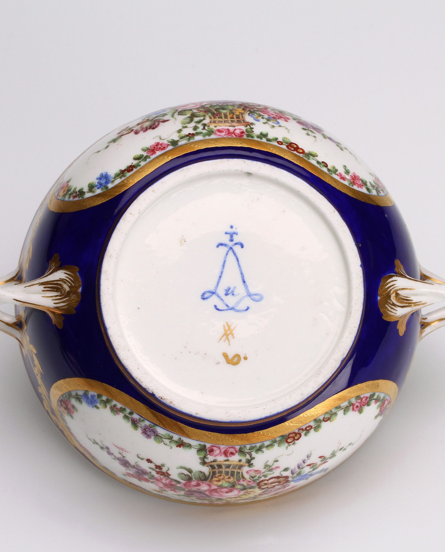 Detail from a broth bowl, écuelle 'ronde tournée', fourth size, 1773. (Private Collection)